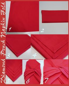 Don't let theattractive fold of this napkin fool you. It is not just a pretty face, but a hard worker too.It does double duty asa napkin for your mouth and lap AND a pouch for your utensils. Wouldn't these napkins be great at a picnic using a fun bandanna? Or, dressedup in crisp white damask …