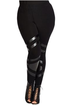Free shipping and returns on City Chic 'Attitude' Faux Leather Trim Leggings (Plus Size) at Nordstrom.com. Sleek faux-leather panels stripe sassy attitude across the front of sleek stretch-cotton leggings.