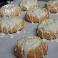 Easy Cheese Danishes Recipe with cream cheese, powdered sugar, vanilla extract, crescent rolls, powdered sugar, milk