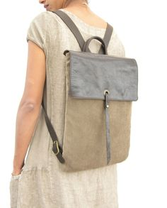 """15"""" Leather and Canvas Laptop Backpack - Canvas Rucksack - Brown by RuthKraus on Etsy https://www.etsy.com/listing/207365185/15-leather-and-canvas-laptop-backpack"""