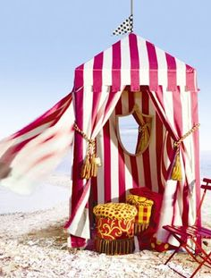 Cabana in fabrics from Scalamandre Beach Cabana, Beach Tent, Pop Up Tent, Am Meer, Beach Cottages, Beach Houses, Tiny Houses, Coastal Living, Belle Photo