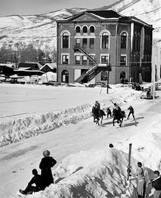 skijoring up Mill Street, Aspen  (a reminder to self not to miss the skijoring this year down in whitefish)