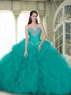 Elegant Ball Gown Quinceanera Dresses with Beading and Ruffles in Turquoise for 2015 Summer Dresses, Quinceanera Gowns, Sweet 16 Dresses, Ball Gowns Sweet 15 Dresses, Sweet Dress, Turquoise Quinceanera Dresses, Debutante Dresses, Elegant Ball Gowns, Strapless Dress Formal, Formal Dresses, Custom Dresses, Turquoise Color