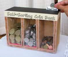 Self sorting coin bank