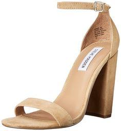 Steve Madden Women's Carrson Ankle Strap Sandal,Sand Suede,US 5 M