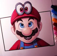 Super Mario Odyssey Cool Art Drawings, Colorful Drawings, Disney Drawings, Cartoon Drawings, Art Sketches, Mario And Luigi, Mario Bros, Canvas Art Projects, Marker Art