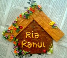 """This lovely """"sweet home"""" name plate is designed in the shape of a """"HUT"""" to give u a homely feeling and to let your guests know how special your """"sweet home"""" is."""
