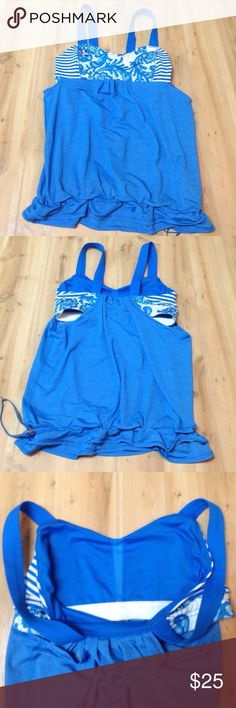 Blue Multi Pattern Lululemon Tank size 6 Drawstring tank with built in sports bra- I think it's missing the bra pads though. Size 6 lululemon athletica Tops Tank Tops