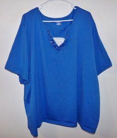 02c160f80a713 LIZ   ME WOMEN S PLUS SIZE FASHION KNIT TOP BLOUSE SHIRT BLUE SIZE 5 X   LizMe  KnitTop  Casual
