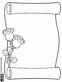 parchment decorated with flowers - parchment decorated with flowers - Front Page Design, Page Borders Design, Border Design, Mothers Day Coloring Pages, Adult Coloring Pages, Coloring Books, Embroidery Patterns, Hand Embroidery, Borders For Paper