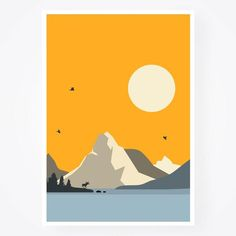 Bright Colors Mountains Set of Day and Night Nordic Colorful Wall Art, Starry Night Moon, Anniversary Stars and celestial, Gift Idea Canvas Art, Canvas Prints, Art Prints, All The Bright Places, Posca Art, Landscape Illustration, Abstract Landscape, Art Inspo, Art Drawings