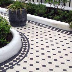 sunroom tile idea London Mosaic - Traditional Black and White Octagon Tiles Balcony Tiles, Balcony Flooring, Patio Tiles, Outdoor Flooring, Deck Tile, Concrete Patio, Outdoor Tiles Floor, Garden Bar, Garden Paths