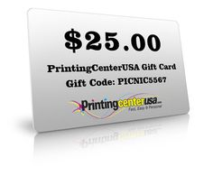 $25 dollar gift card for any purchase on our website. #print #Printing #Discounts