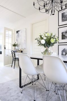 Chairs For Sale Restaurant Referral: 2694206921 Interior, Blue Chairs Living Room, Open Dining Room, Dining Room Design, House Interior, Dining Room Table Chairs, Sitting Room Chairs, Dream Dining Room, White Leather Dining Chairs