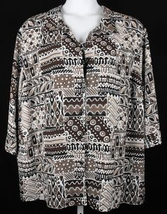 Maggie Barnes 4X Top Two Fer Layered Look Brown White Print Shirt Womens 30 32W | eBay