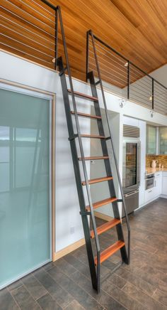 Home & Apartment Steel Wooden Staircase Connecting Floor Wooden Lacquer Metal Wall And Big Glass Door In Tsunami House High...