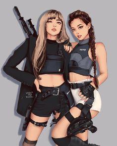 Kpop Girl Groups, Kpop Girls, Blackpink Poster, Lisa Blackpink Wallpaper, Kpop Drawings, Easy Drawings, Black Pink Kpop, Digital Art Girl, Blackpink Photos