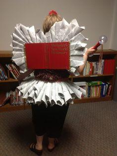 """While not the most flattering costume you'll ever wear, this DIY """"Book Fairy"""" or """"Library Fairy"""" or (best yet) """"Diction Fairy"""" costume sure . Book Fairy Costume, Fairy Costume For Girl, Book Costumes, Book Character Costumes, World Book Day Costumes, Book Week Costume, Cute Costumes, Girl Costumes, Costume Ideas"""