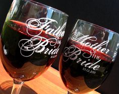 custom wine glass, parents of the groom, parents of the bride, mother of the bride, father of the bride, mother of the groom, father of the groom, personalized wine glasses, wedding gift, wedding favor, wedding glassware  These custom engraved wine glasses are perfect for toasting to the new Bride and Groom and will be a nice token of the wedding day. This listing is for two glasses.  They can refer to any relation to the Bride and Groom and are marked with the date of the special day.  For…