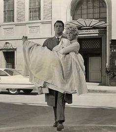 Doris Day & Rock Hudson in production still from Pillow Talk