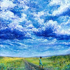 The Thai train under a blue blue sky by Iris Scott l #fingerart #painting