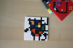 Coasters inspired by surrealist painters as Miró or Kandinsky. Made with hama beads.