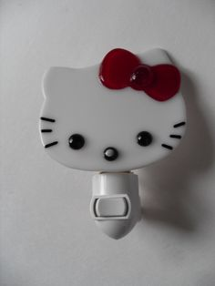 Hello KItty white/red  fused glass night light by sherrylee16, $24.00