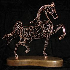 Copper plated hand wrought steel wire sculpture of Saddlebred available for purchase. Wire Art Sculpture, Horse Sculpture, Animal Sculptures, Chicken Wire Art, Copper Wire Art, Horse Wall Art, Scrap Metal Art, Wire Crafts, Equine Art