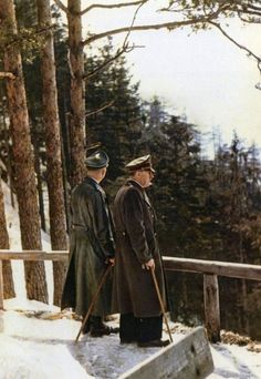 """Two men in the snow: Adolf Hitler and SS-Chef Heinrich Himmler in front of the Teahouse in Mooslahnerkopf on April In the calender of the """"Reichsführer-SS"""" was written down: Uhr Essen beim Führer, Uhr Spaziergang. Germany Ww2, The Third Reich, Rare Photos, World History, World War Two, Wwii, Military, April 3, 1940s"""