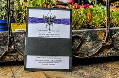 chandelier wedding invitations, pocket fold, purple wedding invitations, black wedding invitations, white wedding invitations, swarovski crystals on wedding invitations