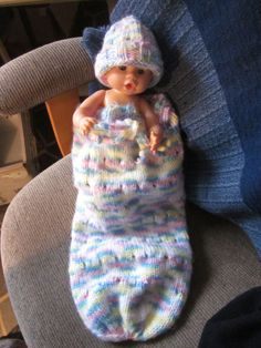 Infant sleep sack and knit hat