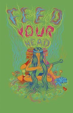 Feed Your Head hippie poster. Bedroom Wall Collage, Photo Wall Collage, Collage Art, Hippie Wallpaper, Trippy Wallpaper, Iphone Wallpaper, Psychedelic Art, Desenhos Tim Burton, Estilo Hippie