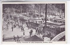 Bristol Connecticut CT Postcard 1915-1930 Trolley Terminal at Lake Compounce