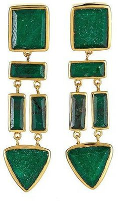 Charm & Chain Margaret Elizabeth The Mira Earrings, Emerald on shopstyle.com