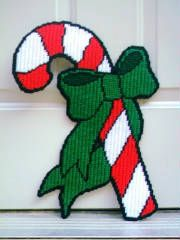 CANDY CANE WRAPPED IN A BOW by SORAM INFO SYSTEMS -- WALL HANGING 1/2