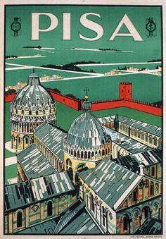 Pisa Tavel Poster - Vintage 1928 Pisa Tuscany Italy Italian Travel Tourism Poster Re-Print Retro Poster, Vintage Poster, Vintage Travel Posters, Vintage Postcards, Vintage Ads, Travel Ads, Travel And Tourism, Vintage Italian Posters, Tourism Poster