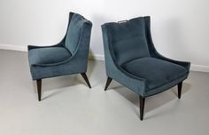 Pair of Mohair Slipper Chairs in the Manner of Harvey Probber, 1950s 2