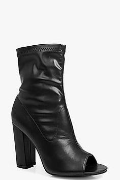 7b76628fb7c7 Boohoo: Caroline Peeptoe Block Heel Shoe Boot Block Heel Shoes, Boohoo,  Ankle,