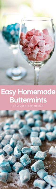 Easy Homemade Buttermints! A perfect appetizer or gift, these melt-in-your-mouth buttermints that are surprisingly easy to make at home. Customize them with different colors! | HomemadeHooplah.com