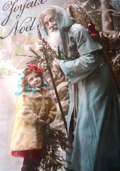 Antique Christmas postcard - Santa Claus father Christmas, little girl child…