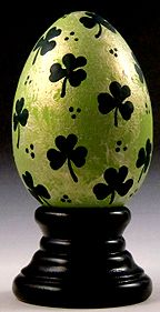 Lucky Shamrocks - hand painted wooden egg by The Egg Man Alan Traynor