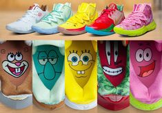 SpongeBob SquarePants x Nike Kyrie collection Cute Sneakers, New Sneakers, Sneakers Fashion, Sneakers Nike, Girls Basketball Shoes, Basketball Sneakers, Kyrie Irving Shoes, Fresh Shoes, Hype Shoes