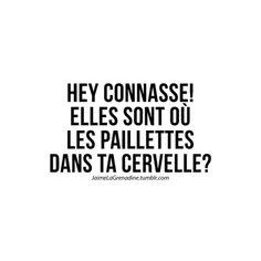 HEY connasse! Elles sont où les paillettes dans ta cervelle? - #JaimeLaGrenadine #citation #punchline #connasse #amour #love #plagiat #copie #voleur