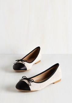 My Heart Stud Still Flat in Beige. Discover love at first sight when you see how fetchingly these beige and black ballet flats complete your ensemble. #tan #modcloth