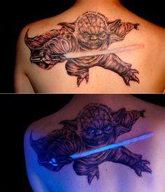 Yoda glowing tattoo. not a fan of Starwars but thats cool