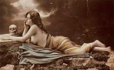 Reclining woman with a skull 1900s