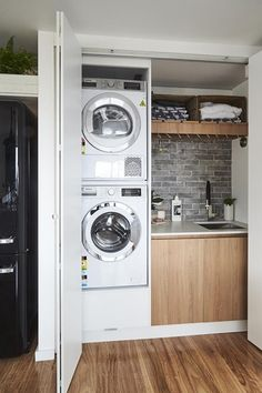 Laundry In Kitchen, Laundry Cupboard, Laundry In Bathroom, Bedroom False Ceiling Design, Interior Design Living Room, Garages, Open Plan Kitchen Diner, Studio Shed, French Style Homes