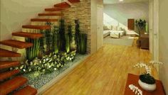 Dicas para criar um jardim debaixo da escada em espaços internos ou externos, aproveitando o espaço e gerando bem-estar.