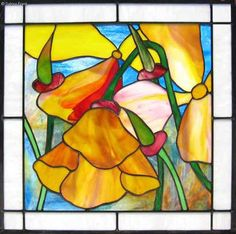 Sabina Frank Stained Glass  custom design Berkeley Ca. berkeley Poppies Colorfu leaded panels windows custom cabinets doors  Floral abstract stained