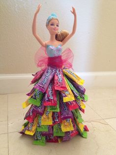 First attempt at a candy skirt! Birthday Candy, Barbie Birthday, Barbie Party, Diy Birthday, Birthday Gifts, Candy Gift Baskets, Candy Gifts, Raffle Baskets, Candy Bouquet Diy